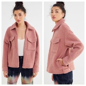 NWT UO Teddy Zip Up Coat in Dusty Rose / Blush